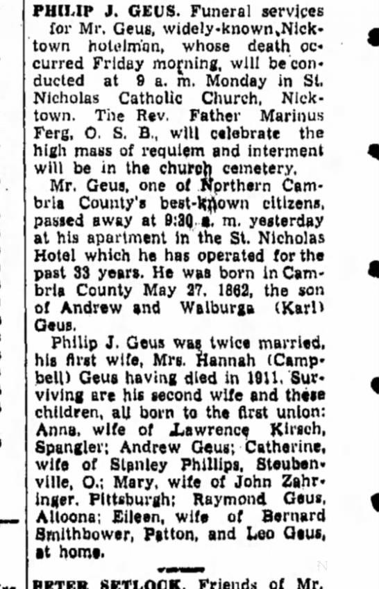- PHILIP J. GEUS. Funeral services for Mr. Geus,...
