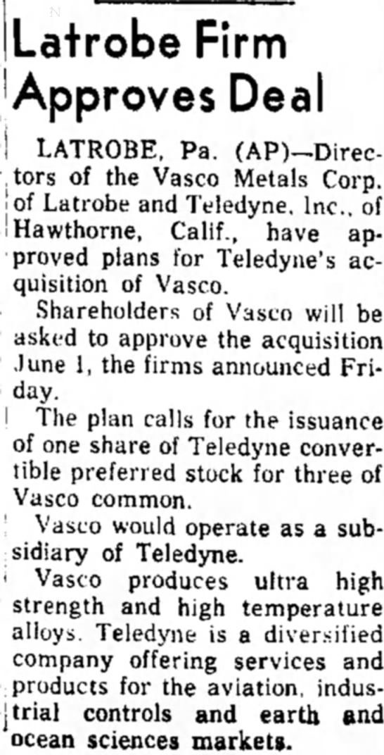 19660402 - Indiana Gazette - Vasco-Teledyne deal - Latrobe Firm I A PN I AODrOVeS D66 • « . -...