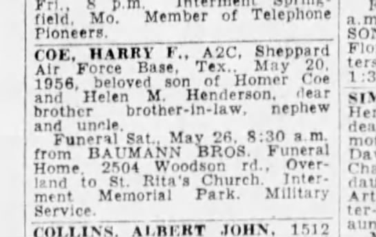 obituary harry coe st louis post dispatch 25 may 1956 https://www.newspapers.com/image/140078897/?te - Frl 8 p.m. Springfield. Mo. Member of Telephone...
