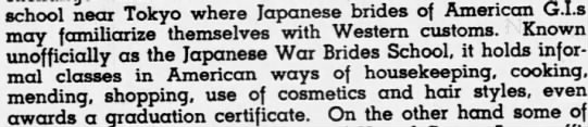 some of the offered classes - school near Tokyo where Japanese brides of...