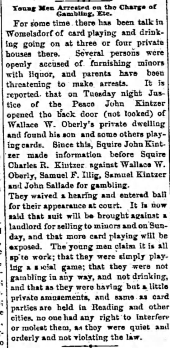 Wallace W. Oberly - Tonns; Hen Arreitfo 1 on tho Charg-a of...