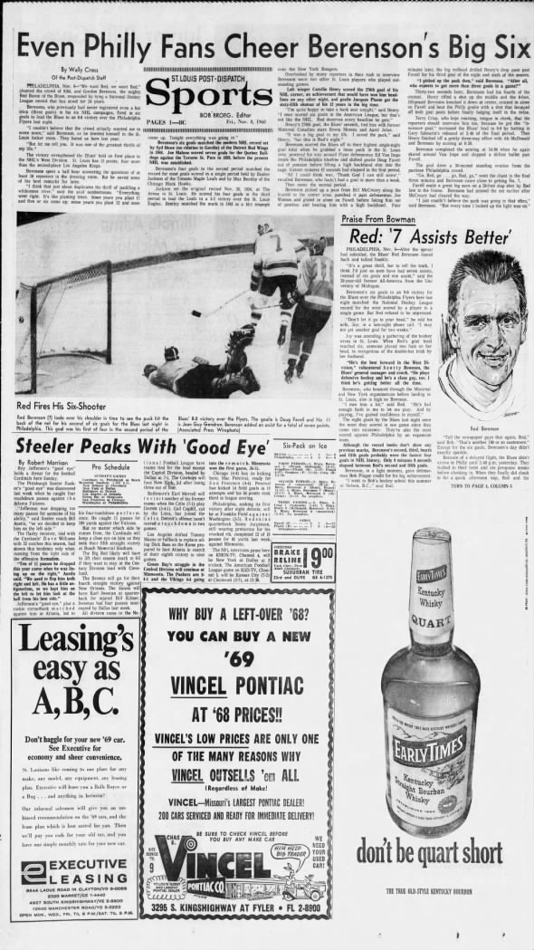 Nov. 7, 1968: Red Berenson scores 6 goals in a game