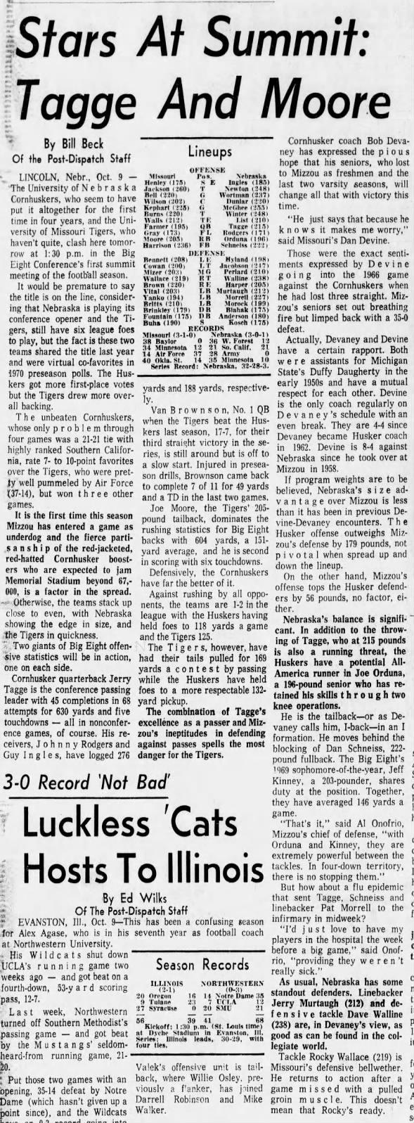 1970 Nebraska-Missouri pregame, StL P-D
