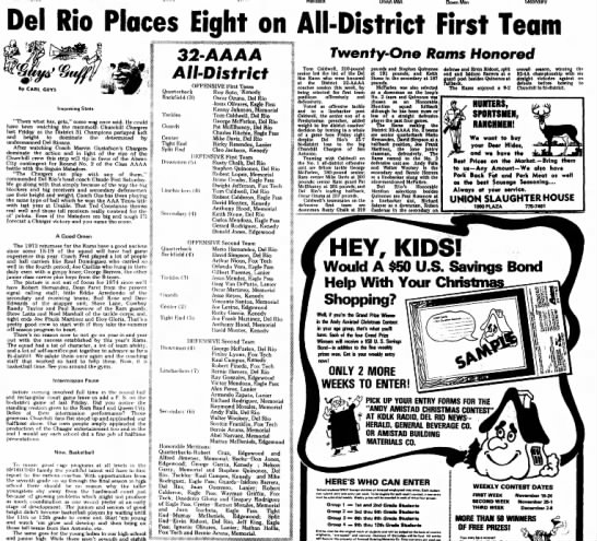 Andy Falls named to football all-district 2nd team, Nov 1973 - Down Man Del Rio Places Eight on All-District...