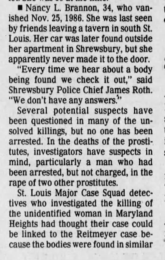 - Nancy L. Brannon, 34, who vanished vanished...