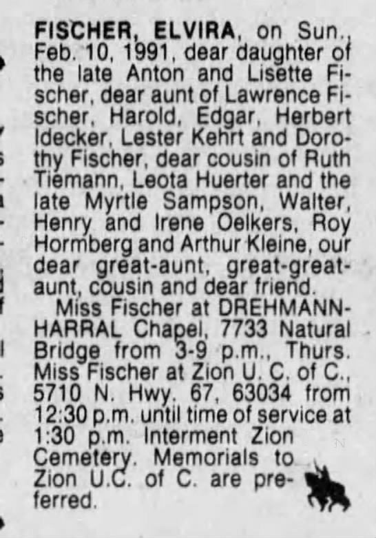 Elvira Fischer Obit - FISCHER, ELVIRA, on Sun., Feb. 10, 1991, dear...