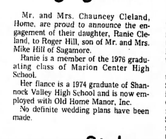 Ranie Cleland - Mr. and Mrs. Chauncey Cleland, Home, are proud...