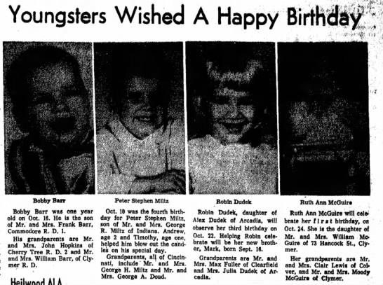 Saturday, Oct. 18, 1969 - Youngsters Wished A Happy Bi _________...