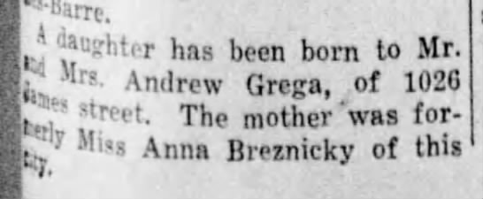 "Agnes Grega birth announcement - ""karre. 3 daughter has been born to Mr. '1 s-..."