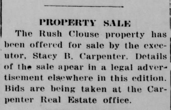 Rush Clouse Property - PROPKRTV SALE The Rush Clouse property has been...