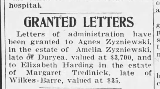 AGNES ZYZNESKI - hospital. GRANTED LETTERS Letters of...