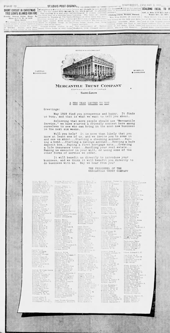 Ad for Mercantile Trust Company with James A. Byrnes in list of employees. - J'AfiF: 22 SHORT CIRCUIT IN CHRISTMAS TREE...