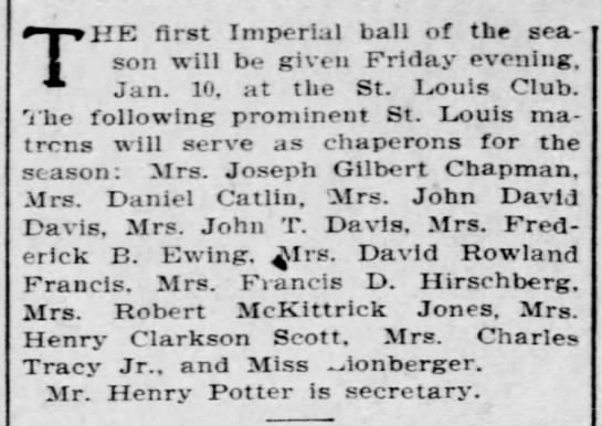 Imperial ball_St. Louis Club_1907 - THE first Imperial ball of the season will be...