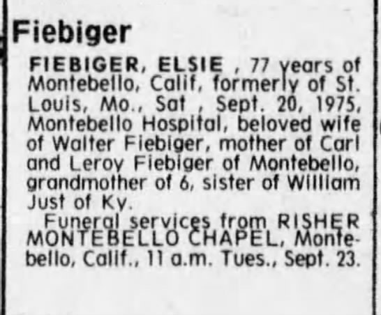 St. Louis Post-Dispatch Obituary of Elsie Fiebiger, 22 Sep 1975 - Fiebiger FIEBIGER, ELSIE , 77 years of...