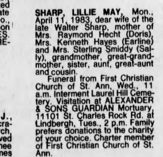 Lillie May Sharp Apr 12, 1983 - 1 J., (nee SHARP, LILLIE MAY, Mon., April 1 1....