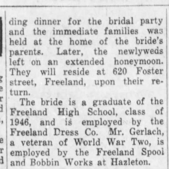 Briggs Gerlach wed cont'd - ding dinner for the bridal party and the...