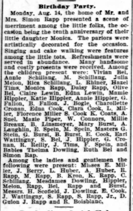 Hippler Annie 1899 Rapp birthday party - Birthday Party. Monday. Aug. 14. the borne of...