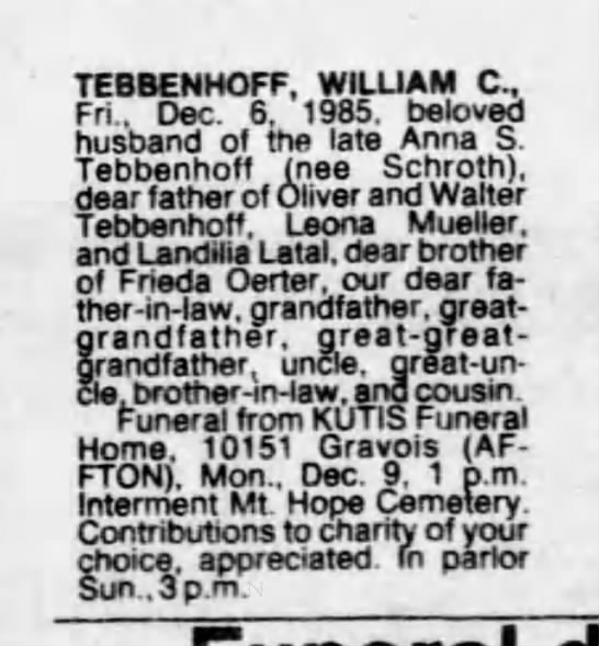 William Tebbenhoff - TEBBENHOFF, WILLIAM C. Fri.. Dec. 6, 1985,...