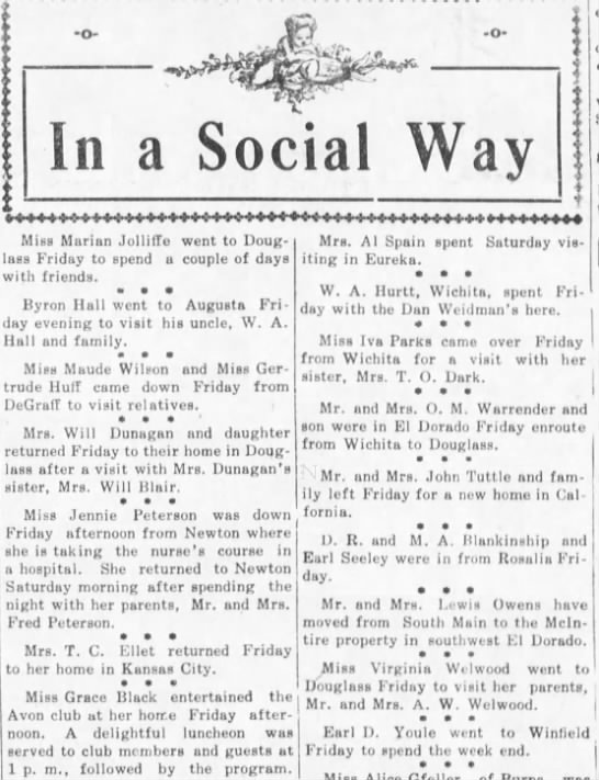Mr and Mrs John Tuttle move to California - 29 Mar 1913 - Walnet Valley Times - Mm i In a Social Way Miss Marian JollitTe went...