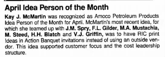H.H.Blatch - April Idea Person of the Month Kay J. McMartin...