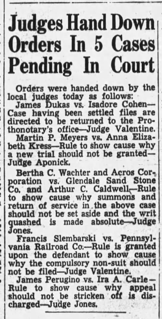 Dukas vs Cohen 1939 - Judges Hand Down Orders In 5 Cases Pending In...