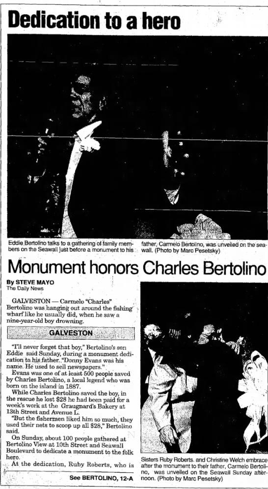 1996 mar 4 bertolino monument 1 - Dedication to a hero Eddie.Bertolino talks to a...
