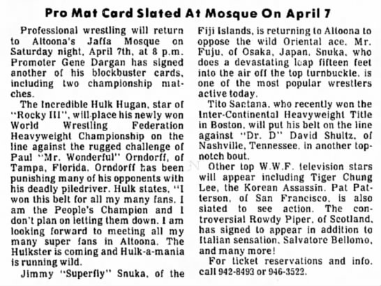 - Pro Mat Card Slated At Mosque On April 7...