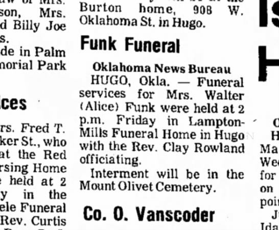 Alice funeral - Mrs. Billy Joe in Palm Park Fred T. St., who at...