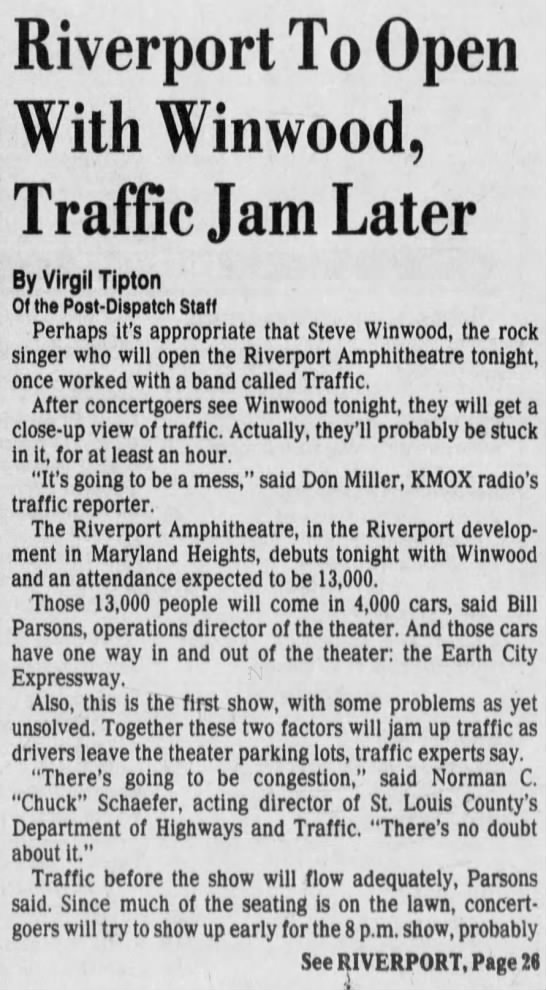 June 14 1991: Riverport's opening night: Steve Winwood during the show, traffic after - Riverport To Open With Winwood, Traffic Jam...