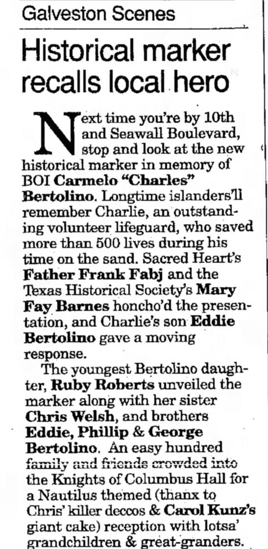 1996 mar 17 Bertolino marker - Gaiveston Scenes ^ Historical marker recalls...