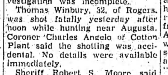 Hope Star, 24 Dec 1957 p2 Thomas Winbury - Thomas Winbury, 32, of Rogers, was shot fatally...