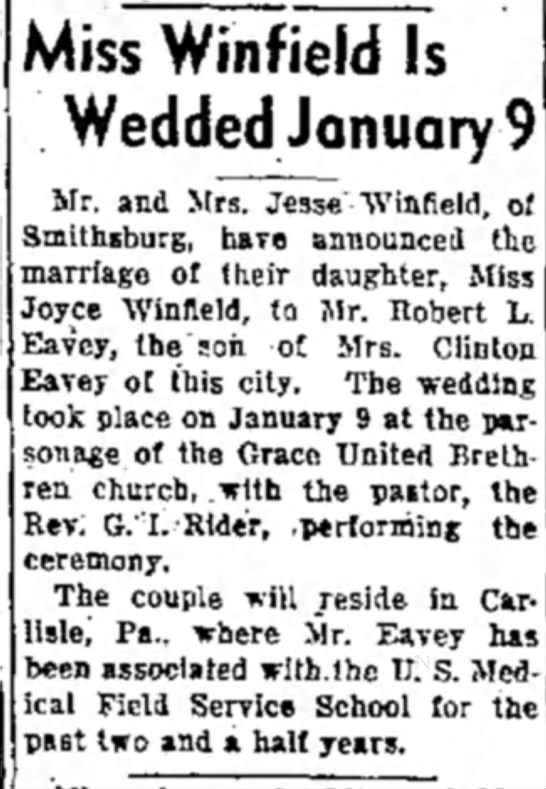 Eavey-Winfield marriage, 23 Feb 1943, Morning Herald, Hagerstown, MD - Miss Winfield Is Wedded January Mr. and Mrs....