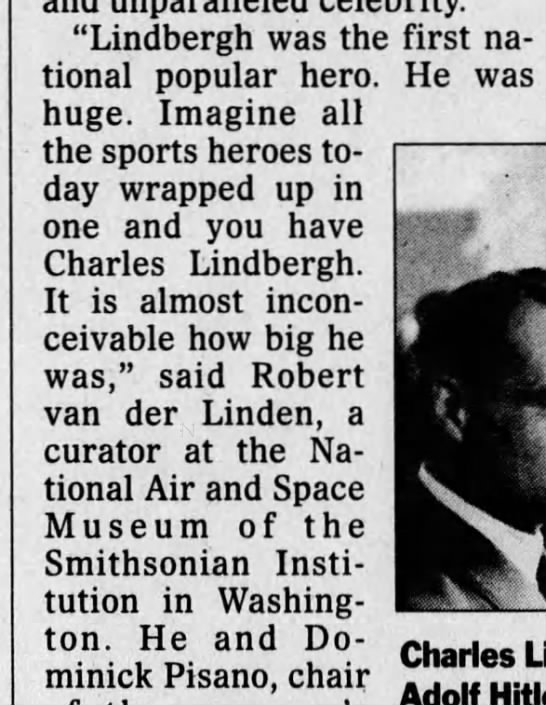 "Lindbergh's popularity - ""Lindbergh was the first national national..."