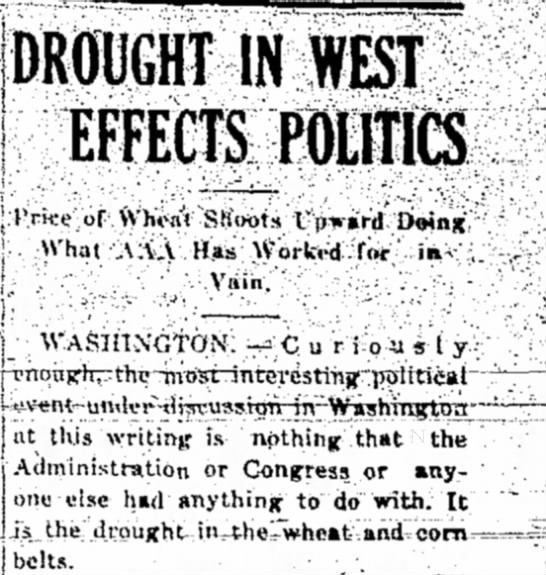 May 1934 drought west US politics