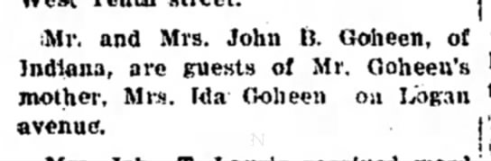 mrs john h goheen articfle dated 26 oct 1925 - ;Mr. and Mrs. John ft. Goheen, of < Indiana,...