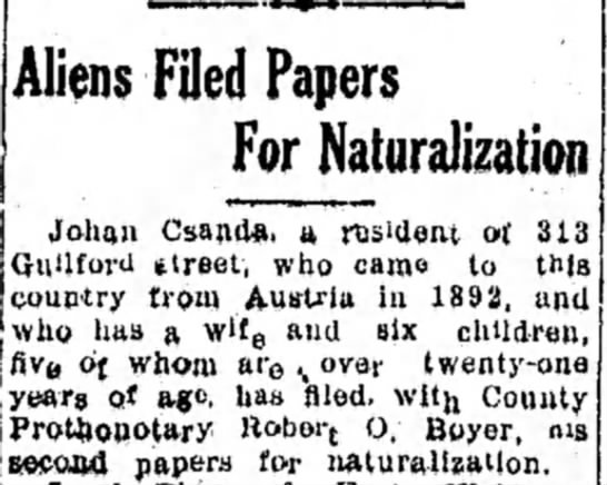 - Aliens Filed Papers For Naturalization Johaa...
