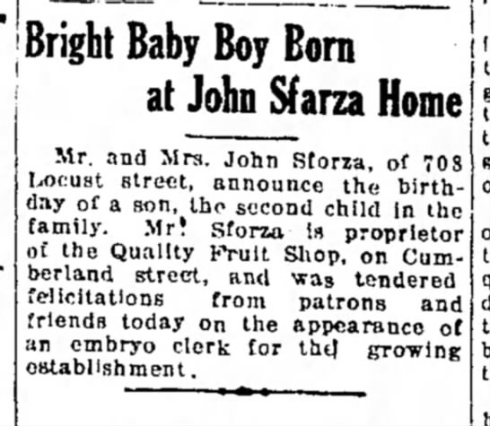 Joseph Sforza birth announcement