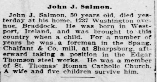 1903 Obituary of John J. Salmon 50 yrs old born in Ireland - John J. Salmon. John J. Salmon. 50 years old....