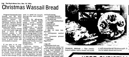 Wassail bread. - 12C Th«ParisN»w«, Sun., Dec. 19, 1976 Christmas...