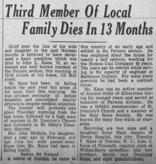 John L Kane Newspaper Obituary 1938 - Third Member Family Dies In 13 Months Grief...