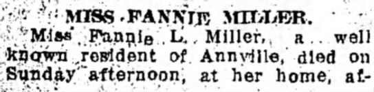 "Lebanon Semi-Weekly News 3/24/1919; pg 7 - MISS -FANNIK MILKER. r( Ml««"", Funnie.L',/ well..."