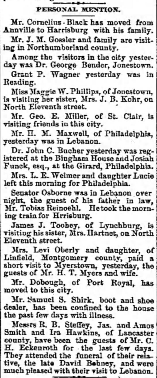 Mrs. Levi Oberly and daughter - PERSONAL MENTION. Mr. Cornelius - Black has...