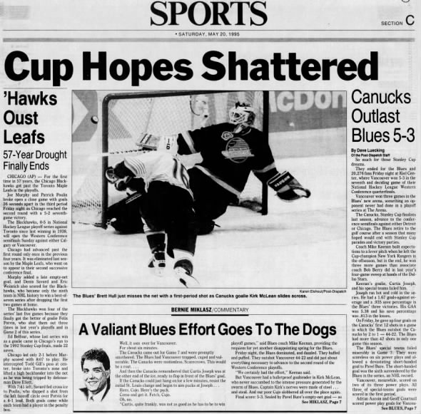 May 19, 1995: Vancouver 5, Blues 3