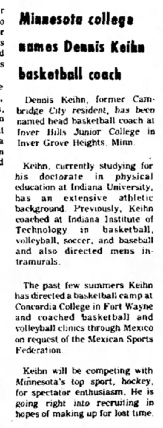 D Keihn Named at IHCCJuly 1973