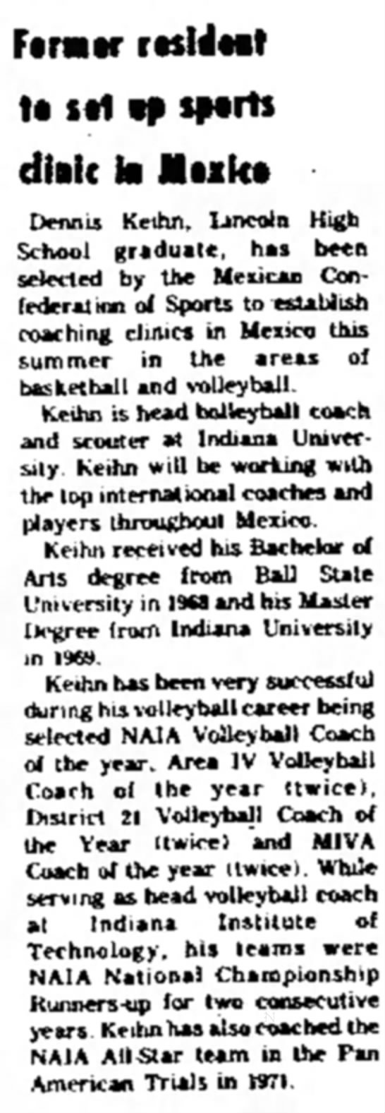 Dennis Keihn mexican coaching clinics 1973