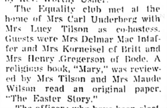 1957 May 3 Mrs Korneisel co-host Equality club met - The Kquality club met at the home of Mrs Carl...