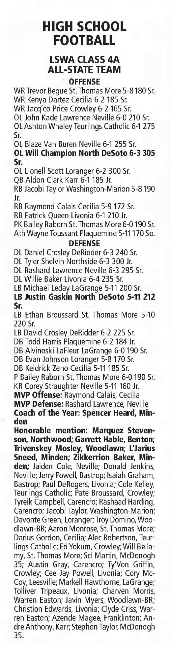Dec 25 All State 4A - HIGH SCHOOL FOOTBALL LSWA CLASS 4A ALL-STATE...