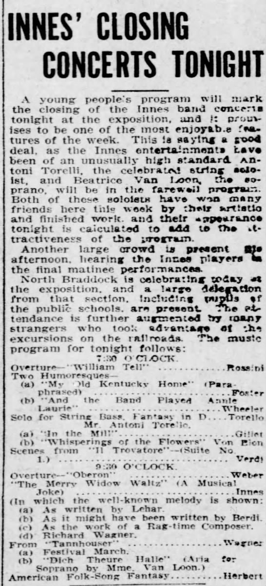 Innes concerts Pittsburgn Oct 1910 - INNES' CLOSING CONCERTS TONIGHT A young-...