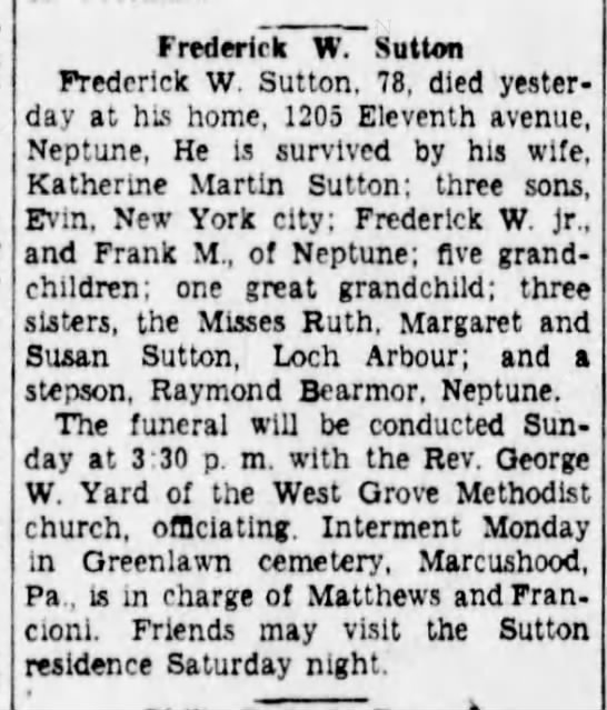 Fred W Sutton death notice - Frederick W. Sutton Frederick W. Sutton, 78,...