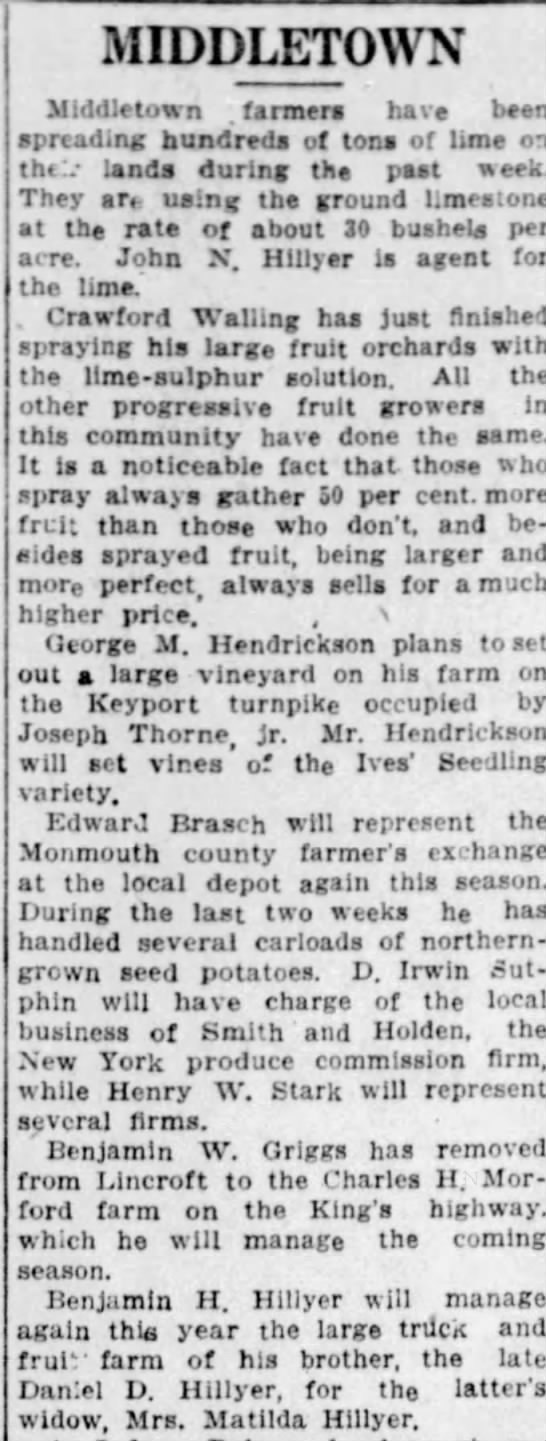 Asbury Park Press (Asbury Park, New Jersey) 09 Apr 1914, Thu Page 4 - MIDDLETOWN Middletown . farmers have been...
